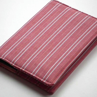 Notebook Cover, A6, Red Stripe Shirting Fabric