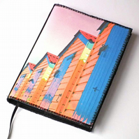 Notebook Cover, A6, Beach Huts, Photo-Art, Made To Order