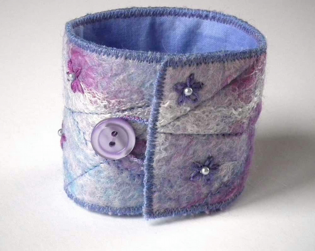 Handmade Felt Cuff Bracelet, Lilac, Blue, Fuchsia, Beaded, Embroidered