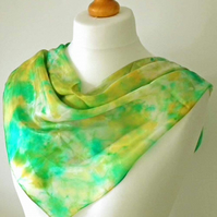 Hand Dyed Silk Scarf, Square, Green, Gold, Turquoise