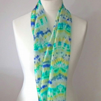 Shibori Hand-dyed Silk Scarf, Long, Blue, Turquoise, Yellow, White