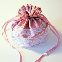 SALE Pink Satin Dolly Bag, Wedding Bag, Bridesmaid Bag, Satin and Lace