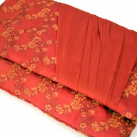 SALE Clutch Bag, Evening Bag, Rust Red Brocade, Chiffon Drape