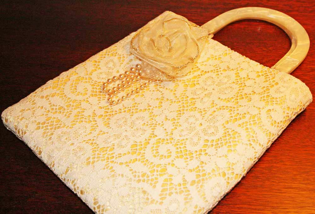 SALE Lace Handbag, Wedding Bag, Gold Satin Lining, Ribbon & Pearl Brooch