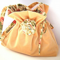 SALE Velvet and Floral Fabric Shoulder Bag - Honey