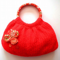 SALE Knitted Handbag, Bright Red, Wrapped Handles, Fabric Lining