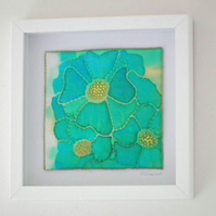 Original Textile Art, Painted Silk and Stitch, Framed, Toward The Light
