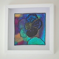 Original Textile Art, Painted Silk and Stitch, Framed, Dark Moments