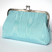 Clutch Bag, Purse, Silver Frame, Evening Bag, Wedding, Blue Moiré Taffeta