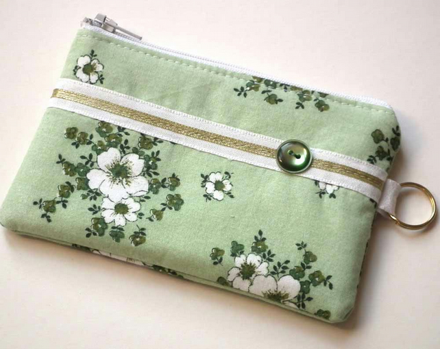 Zipped Coin Purse, Mini Make up Bag, Green Floral