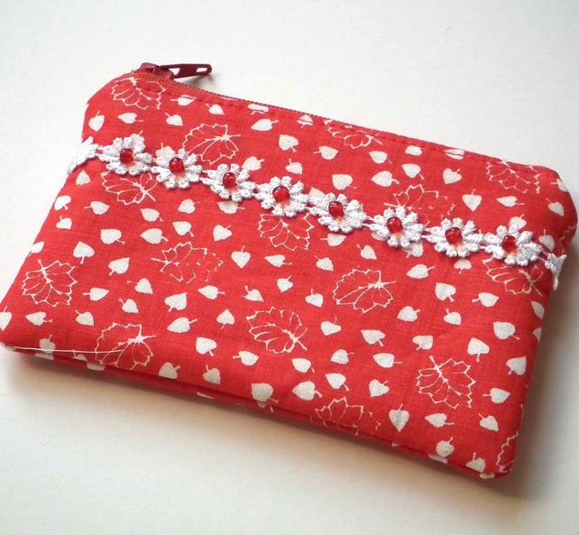 Zipped Coin Purse, Mini Make up Bag, Red & White
