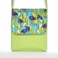 SALE Cross-body Bag, Messenger Bag, Kiwiana Collection, 'Wetlands' Cotton Print