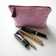 Make Up Bag, Cosmetics Purse, Pink Floral Fabric