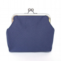 Clutch Bag, Purse, Silver Frame, Evening Bag, Wedding, Midnight Blue Fabric
