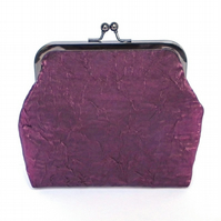 Clutch Bag, Purse, Black Nickel Frame, Evening Bag, Wedding, Plum Fabric