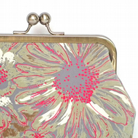 Clutch Bag, Purse, Silver Frame, Evening Bag, Wedding, Floral Fabric