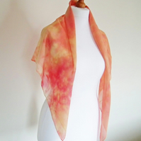 Hand-dyed Silk Georgette Scarf, Large Square, Shawl