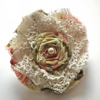 Flower Corsage, Brooch, Vintage Lace and Linen, Pearl Trim