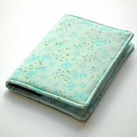 Fabric Notebook Cover, A6, Turquoise, Aqua, Removable Cover