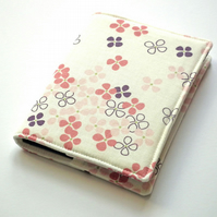 Fabric Notebook Cover, A6, Flower Print, Japanese Cotton, Removable Cover