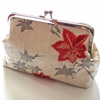 Silk Clutch Bag, Vintage Kimono Silk, Silver-tone Frame, Evening Purse,