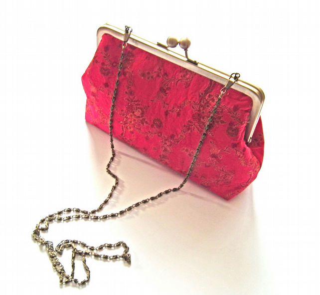 Clutch Bag, Kisslock Frame, Antique Brass Frame, Evening Bag, Long Chain Handle