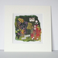 Textile Art Print, Mounted Print, 12 x 12, 'Back To The Garden', Signed Print