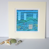 Textile Art Print, Mounted Print, 12 x 12, 'Sussex By The Sea', Signed Print