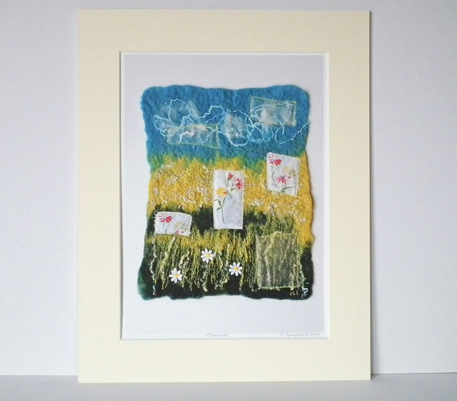 Textile Art Print, Mounted Print, 14 x 11, Signed Print, 'Summer'