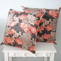 Cushion Cover, Vintage William Morris-Style Fabric, Art Nouveau, Retro Cushion