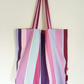 Handmade Beach Bag, Simply Stripes Recycled Fabric, Packs Flat, Summer Bag