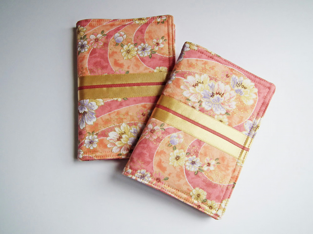 Notebook Cover, A6, Kimono Cotton, Gold Highlights
