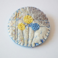 Textile Brooch, Handmade Felt, Embroidered Flowers, Beads