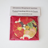 Pocket Mirror, Handbag Mirror, Compact Mirror, Fabric Covered Mirror, Felt Pouch