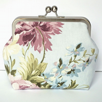 Clutch Bag, Purse, Silver Nickel Frame, Evening Bag, Wedding, Floral Fabric,