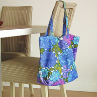 Boho Beach Bag, Funky Florals 70s Recycled Fabric, Packs Flat, Summer Bag, Retro