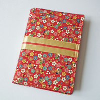A6 'Kimono' Notebook Cover, Japanese Cotton, Gold Satin Ribbon, Lined Notebook