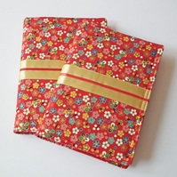 Notebook Cover, A6, Japanese Cotton, Gold Highlights, Kimono Style