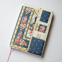 Notebook, Sketchbook, Journal, Diary Cover, A5, Vintage Linen and Lace