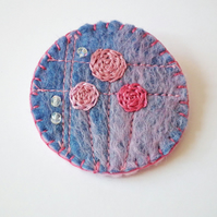 Textile Brooch, Handmade Felt, Embroidered Flowers, Beads, FREE UK P&P
