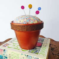 Novelty Pincushion, Re-purposed Flower Pot, Pin Holder, Sewing Accessory