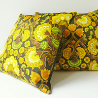 Square Cushion Cover, Vintage 'Marakesh' Fabric, Retro, Black Back, Zip Closure