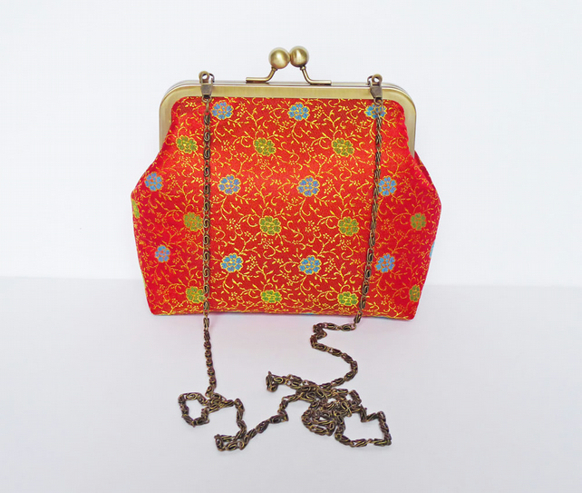 Clutch Bag, Silk Brocade, Brass Frame, Evening Bag, Long Detachable Chain