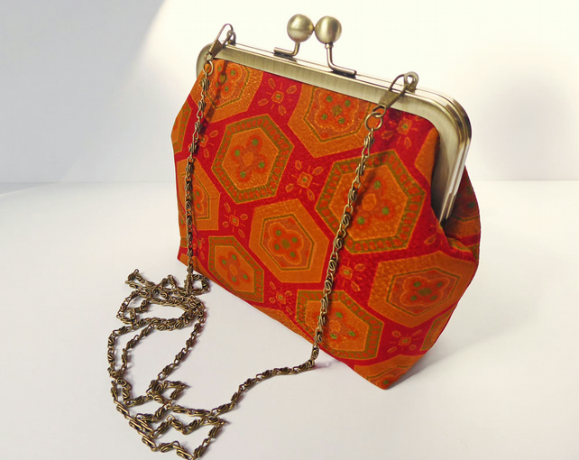 Clutch Bag, Kimono Silk Bag, Brass Frame, Evening Bag, Long Detachable Chain