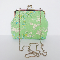 Clutch Bag, Kimono Silk Bag, Silver Frame, Evening Bag, Long Detachable Chain