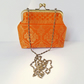 Clutch Bag, Saree Brocade Bag, Brass Frame, Evening Bag, Long Detachable Chain