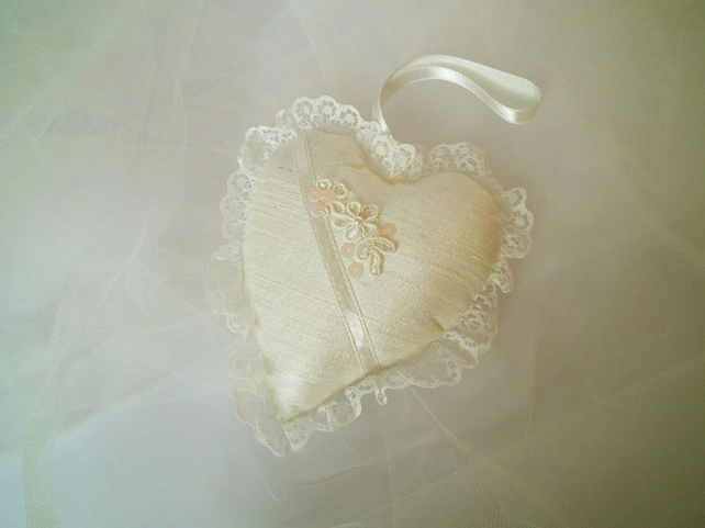 Silk Padded Heart Decoration, Ivory Silk Heart, Wedding Gift, Bridesmaid Gift