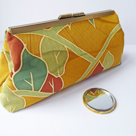 Kimono Silk Clutch Bag, Brass-Tone Frame, Silk Evening Bag, Kiss-lock Frame
