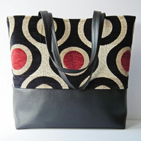Shoulder Bag, Work Bag, Multi-Purpose Tote, Day Bag, Black Faux Leather & Fabric