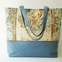 Shoulder Bag, Work Bag, Multi-Purpose Tote, Day Bag, Blue & Beige Fabric